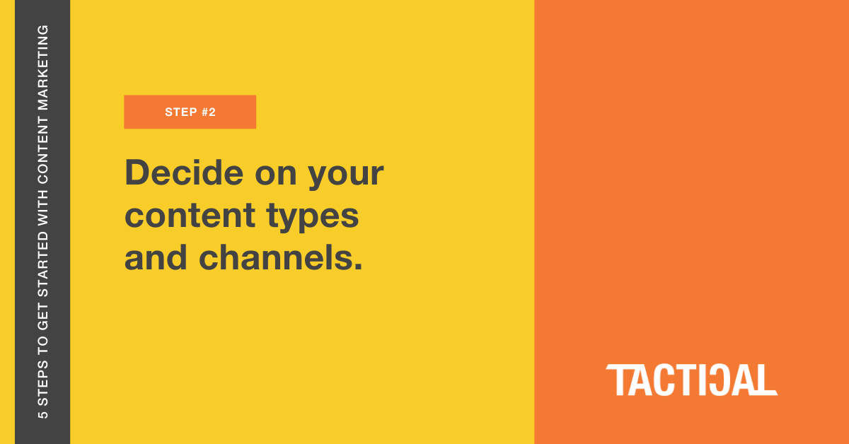 Tips to get started with content marketing: Decide on your content types and channels. Tactical Program.