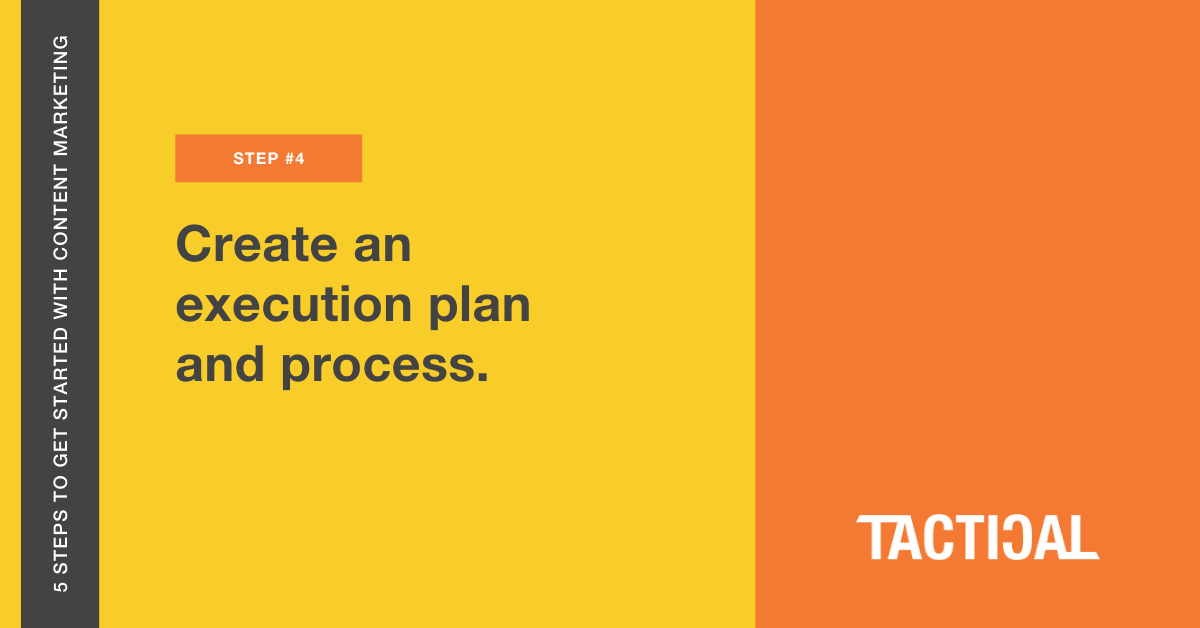 Tips to get started with content marketing: Create an execution plan and process. Tactical Program.