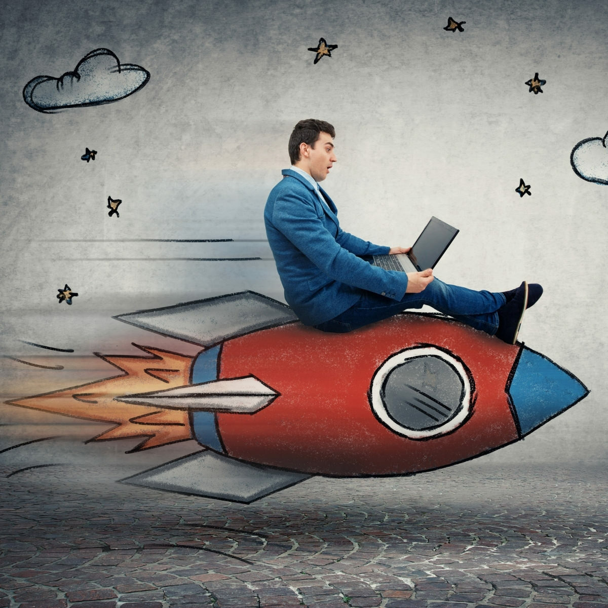 Man on a rocketship being a leader in business